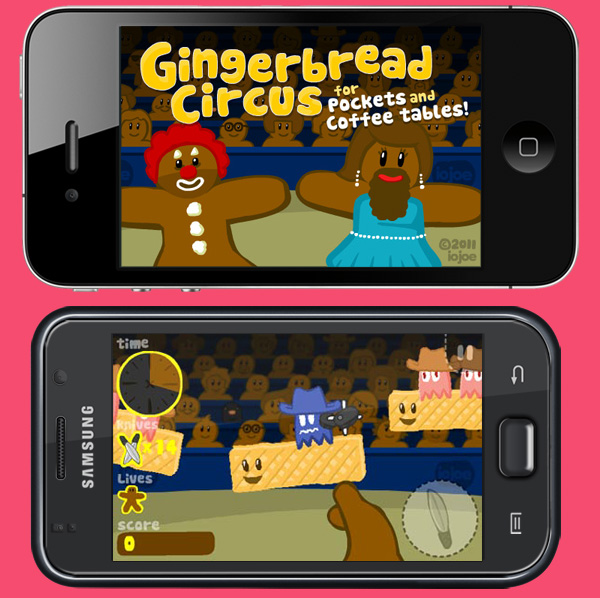 Gingerbread Circus game on iOS and Android devices.