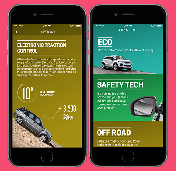 Orator mobile app screens (concepts)