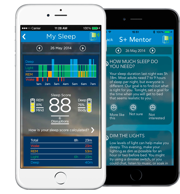 S+Sleep Sensor in different mobile devices.