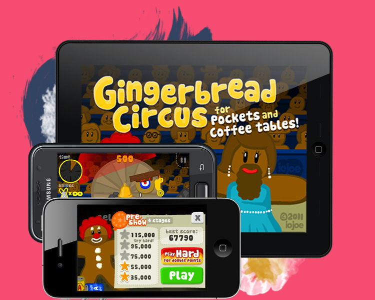 Gingerbread Circus mobile game screens
