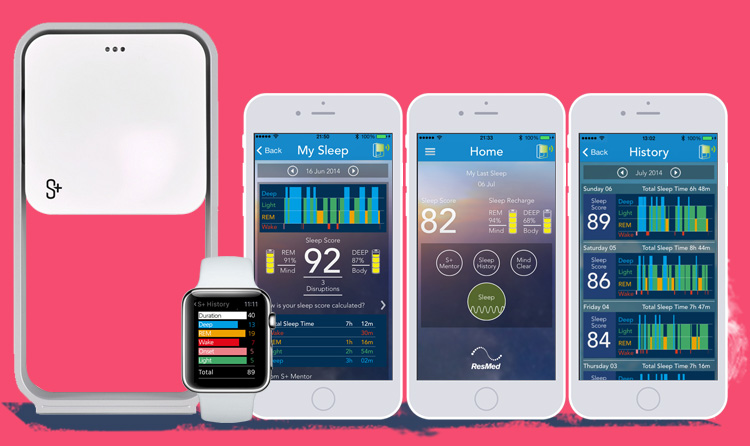 S+Sleep Sensor mobile screens